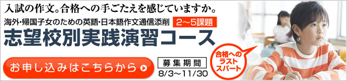 海外・帰国子女のための日本語作文・小論文添削